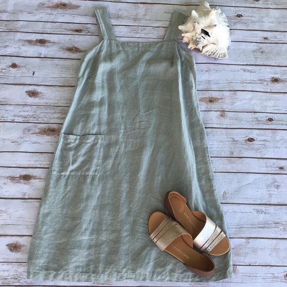 Cut Loose Dresses Light Sage 100 Linen Jumper Dress Sz M Poshmark
